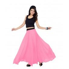 SGLS101 Designer Faux Georgette Plain Skirt