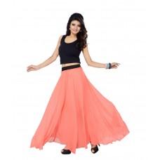 SGLS111 Designer Faux Georgette Plain Skirt