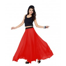 SGLS135 Designer Faux Georgette Plain Skirt
